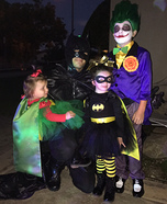 Batman with his baby Joker, Batgirl and the Joker Homemade Costume