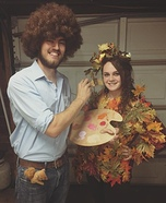 Bob Ross and a Happy Tree Homemade Costume