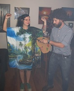 Bob Ross and his Happy Little Painting Homemade Costume