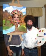 Couples Halloween costume idea: Bob Ross and his Happy Little Tree