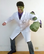 Bruce Banner transforming into the Incredible Hulk Homemade Costume