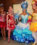 Candyland Characters Group Costume: Queen Candy, Miss Mint, Princes Lolli, and Queen Frostine