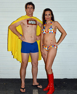 Coolest couples Halloween costumes - Captain Lego and Lego Bikini Costume