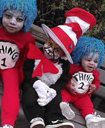 Cat in The Hat with Thing 1 & Thing 2 Homemade Costume