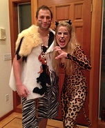 Caveman and Leopard Couples Homemade Costume