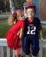 Cheerleader and Football Player Kids Homemade Costume