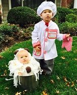 Chef with his Spaghetti & Meatballs Homemade Costume