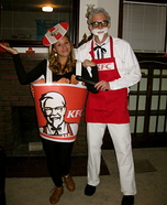 Coolest couples Halloween costumes - Colonel Sanders and Bucket of Fried Chicken Costume