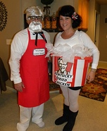 DIY couples costume - Colonel Sanders and his Bucket of Chicken