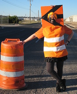 Construction Warning Barrel Costume