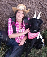 Costume ideas for pets and their owners: Cowgirl and her Pet Cow Costume