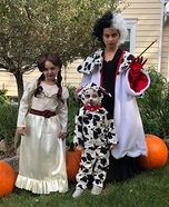 Cruella and Dalmation and Annabelle Homemade Costume