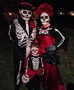 Dia del Morte Day of the Dead Family Homemade Costume