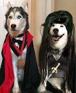 Dracula and Elvira Dogs Homemade Costume