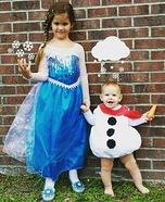 Elsa and Olaf Kids Homemade Costume