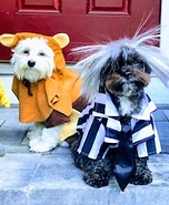 Ewok & Beetlejuice Dogs Homemade Costume
