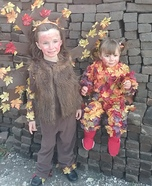 Fall Tree and Pile of Leaves Homemade Costume