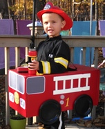 Fireman in Fire Truck Homemade Costume