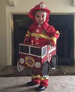 Fireman in Firetruck Homemade Costume