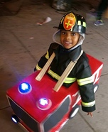 Fireman with his Firetruck Homemade Costume