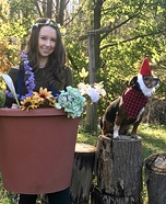 Flower Pot & Pet Gnome Homemade Costume