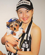 Costume ideas for pets and their owners: Football Player and Referee Costume