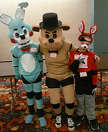 Freddy Fazbear, Toy Bonnie and Foxy the Pirate Homemade Costume