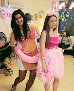 Girl in a Flamingo Pool Float Homemade Costume