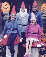 Fun family Halloween costume ideas - Gnomes on Toadstools Homemade Costume