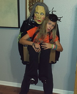 Granny Spook carrying Kay in a Box Homemade Costume