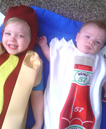 Hotdog and Ketchup Packet Baby Costumes