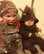 Hunter and his Deer Babies Homemade Costume
