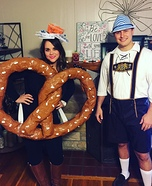Lederhosen Man and Pretzel Homemade Costume