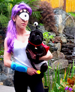 Costume ideas for pets and their owners: Futurama Leela and Nibbler Costumes
