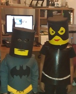 Homemade Lego Batman and Cat Women Costumes