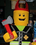 DIY LEGO costume: Homemade Lego Firefighter Costume