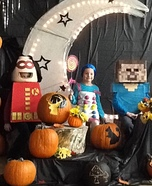 Lego Robin, Candy Buttons and Minecraft Steve Homemade Costumes