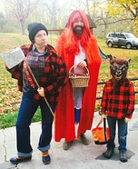 Little Red Riding Hood, Wolf and Lumberjack Family Homemade Costume