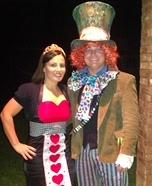 Mad Hatter with his Queen of Hearts Couple Costume