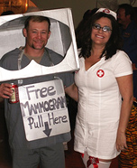 Couples Halloween costume idea: Mammogram Machine and Nurse Couple Costume
