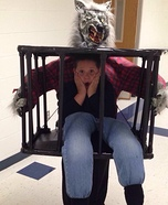 Man carried in a Cage by Werewolf Homemade Costume