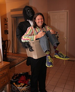 Man in Crate with Gorilla Homemade Costume
