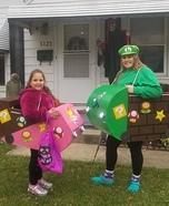 Mario Kart Luigi and Princess Peach Homemade Costume