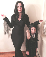 Morticia and Wednesday Addams with Thing Homemade Costume