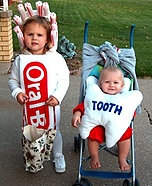 Creative homemade costumes for babies - Toothbrush and Lost Baby-Tooth Costume