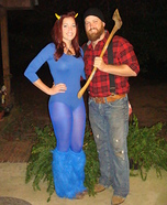 Couples Halloween costume idea: Paul Bunyan and Babe the Blue Ox Halloween Costume
