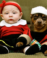 Costume ideas for pets and their owners: Popeye and Olive Oyl Costume