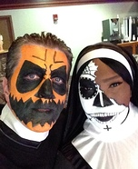 Pumpkin Head Priest and Sugar Skull Nun Homemade Costume