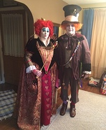 Red Queen and Mad Hatter Homemade Costume