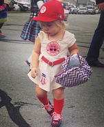 Cute baby costume ideas: Rockford Peach Baseball Player Homemade Costume